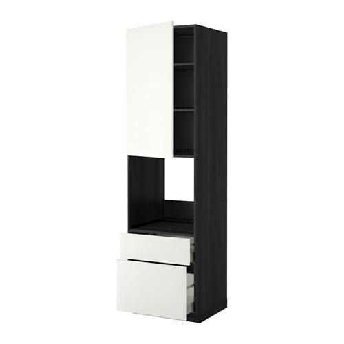 МЕТОД / МАКСИМЕРА Высок шкаф д духов+дверь/2 ящика - 60x60x220 см, Хэггеби белый, под дерево черный