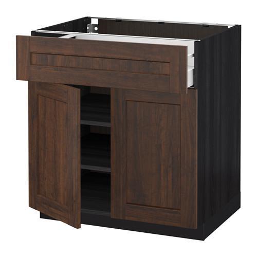 МЕТОД / МАКСИМЕРА Напольный шкаф+ящик/2дверцы - 80x60 см, Эдсерум под дерево коричневый, под дерево черный