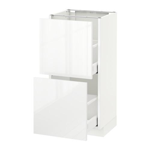 МЕТОД / МАКСИМЕРА Напольный шкаф с 2 ящиками - 40x37 см, Рингульт глянцевый белый, белый