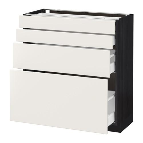 МЕТОД / МАКСИМЕРА Напольн шкаф 4 фронт панели/4 ящика - 80x37 см, Веддинге белый, под дерево черный