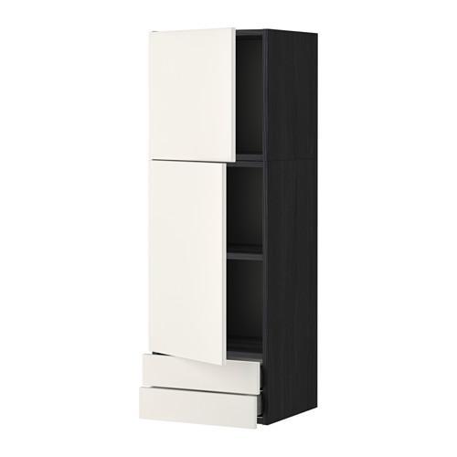 МЕТОД / МАКСИМЕРА Навесной шкаф/2дверцы/2ящика - 40x120 см, Веддинге белый, под дерево черный