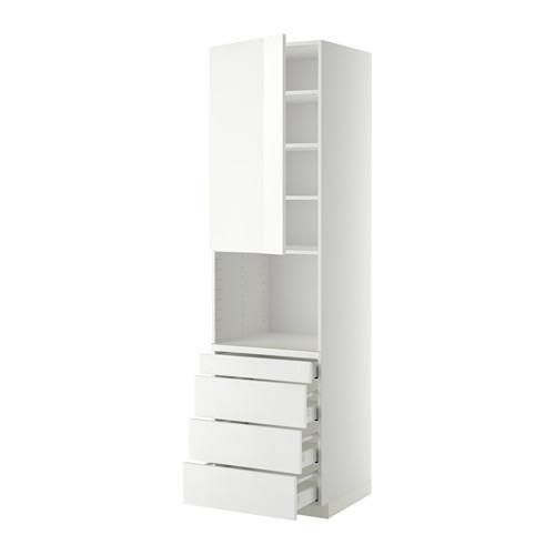 МЕТОД / МАКСИМЕРА Высокий шкаф д/комбинир СВЧ/4 ящика - 60x60x220 см, Рингульт глянцевый белый, белый