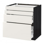 МЕТОД / МАКСИМЕРА Напольн шкаф 4 фронт панели/4 ящика - 80x60 см, Веддинге белый, под дерево черный
