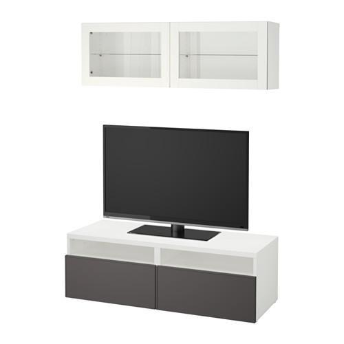 best meuble tv combin porte en verre blanc grundsviken verre transparent gris fonc. Black Bedroom Furniture Sets. Home Design Ideas