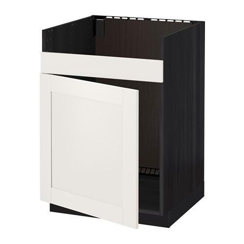 МЕТОД Нплн шкаф для одинарн мойки ДУМШЁ - Сэведаль белый, под дерево черный