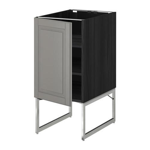 МЕТОД Напольный шкаф с полками - 40x60x60 см, Будбин серый, под дерево черный