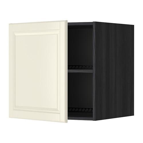 МЕТОД Верх шкаф на холодильн/морозильн - 60x60 см, Будбин белый с оттенком, под дерево черный