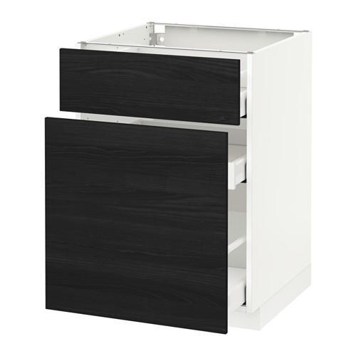 МЕТОД / МАКСИМЕРА Напольн шкаф/выдвижн секц/ящик - 60x60 см, Тингсрид под дерево черный, белый