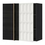 МЕТОД Угловой навесной шкаф с полками - под дерево черный, Гэррестад белый, 88x37x80 см