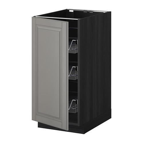 МЕТОД Напольный шкаф с проволочн ящиками - 40x60 см, Будбин серый, под дерево черный