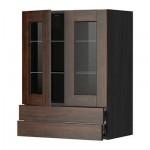 МЕТОД / ФОРВАРА Навесной шкаф/2 стек дв/2 ящика - 60x80 см, Эдсерум под дерево коричневый, под дерево черный