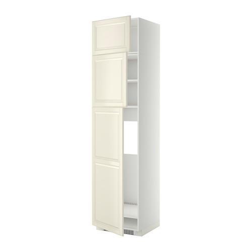 МЕТОД Высокий шкаф д/холодильника/3дверцы - Будбин белый с оттенком, белый
