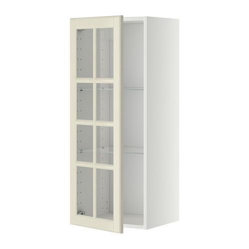 МЕТОД Навесной шкаф с полками/стекл дв - 40x100 см, Будбин белый с оттенком, белый