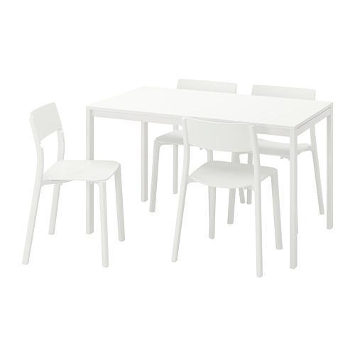 MELLTORP JANINGE bord och 4 stol vit vit