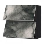 МЕТОД Навесной шкаф/2 дверцы, горизонтал - под дерево черный, Кальвиа с печатным рисунком, 80x80 см
