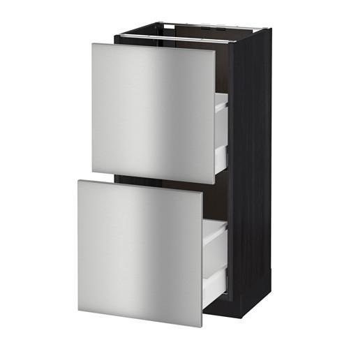 МЕТОД / МАКСИМЕРА Напольный шкаф с 2 ящиками - 40x37 см, Гревста нержавеющ сталь, под дерево черный