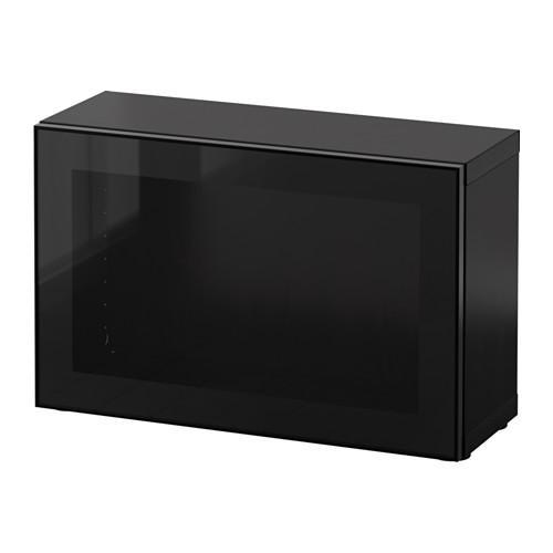 БЕСТО Стеллаж со стеклянн дверью - черно-коричневый/Глассвик черный/прозрачное стекло