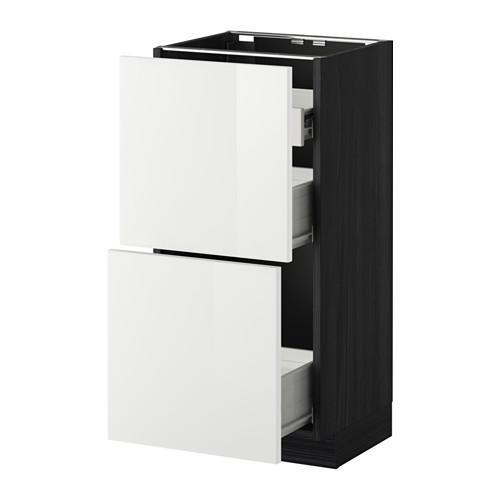 VERFAHREN / FORVARA Nap Schrank 2 FRNT PNL / 1nizk / 2sr Schubladen - Holz schwarz, glänzend weiß Ringult, 40x37 cm
