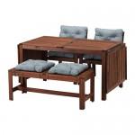 ÄPPLARÖ стол+2кресла+скамья коричневая морилка/Иттерон синий