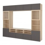 BESTÅ TV cabinet, combination / glass doors gray