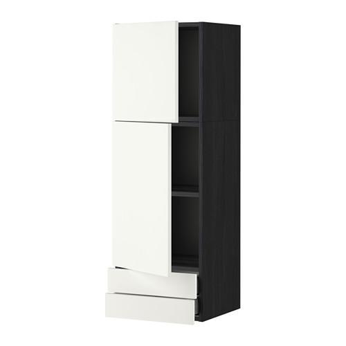 МЕТОД / МАКСИМЕРА Навесной шкаф/2дверцы/2ящика - 40x120 см, Хэггеби белый, под дерево черный