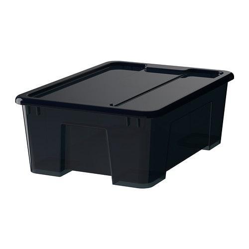 САМЛА Контейнер с крышкой - черный, 39x28x14 см/11 л