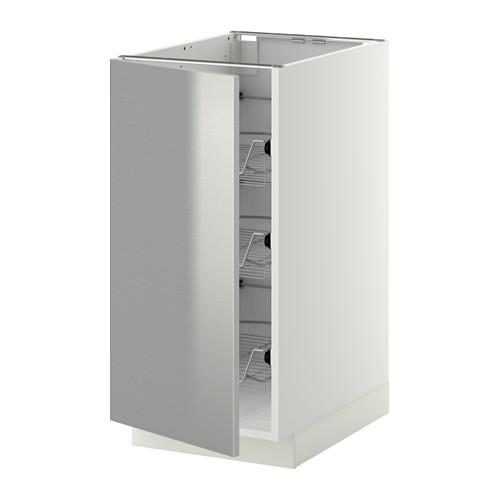 МЕТОД Напольный шкаф с проволочн ящиками - 40x60 см, Гревста нержавеющ сталь, белый
