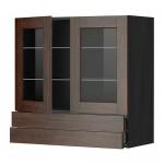 МЕТОД / МАКСИМЕРА Навесной шкаф/2 стек дв/2 ящика - 80x80 см, Эдсерум под дерево коричневый, под дерево черный