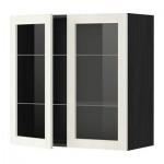 МЕТОД Навесной шкаф с полками/2 стекл дв - 80x80 см, Росдаль белый ясень, под дерево черный