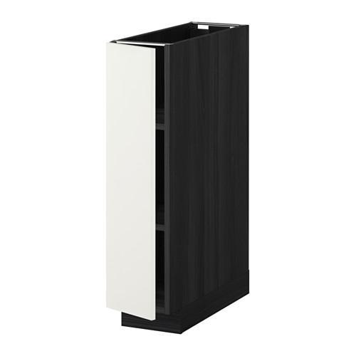 МЕТОД Напольный шкаф с полками - 20x60 см, Хэггеби белый, под дерево черный