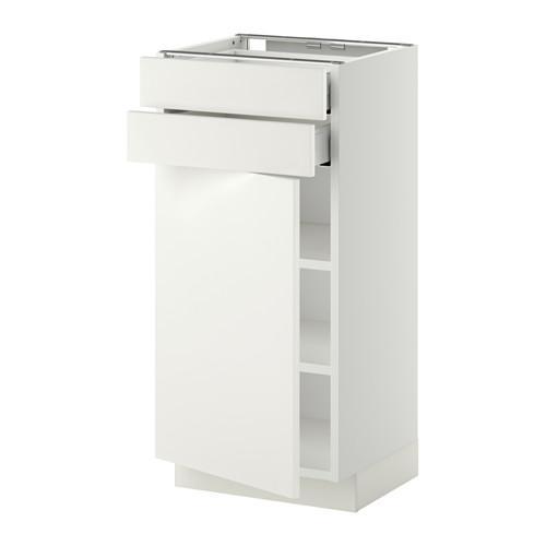 МЕТОД / МАКСИМЕРА Напольный шкаф с дверцей/2 ящиками - 40x37 см, Хэггеби белый, белый