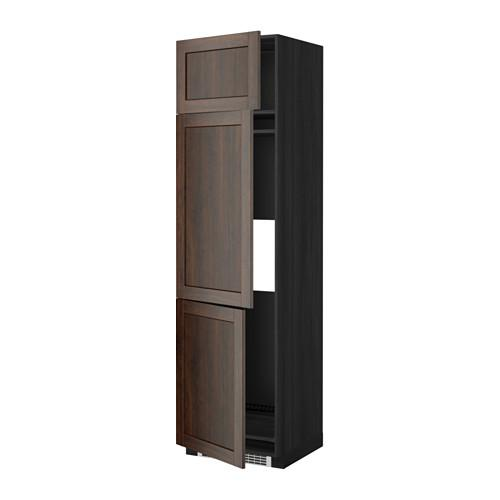 МЕТОД Выс шкаф для хол/мороз с 3 дверями - 60x60x220 см, Эдсерум под дерево коричневый, под дерево черный
