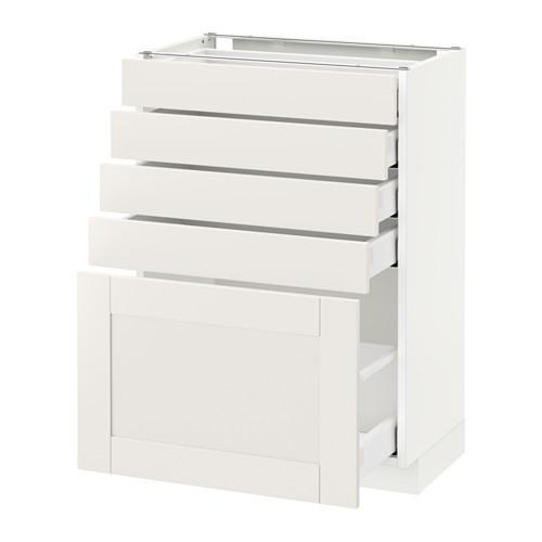 МЕТОД / МАКСИМЕРА Напольный шкаф с 5 ящиками - 60x37 см, Сэведаль белый, белый