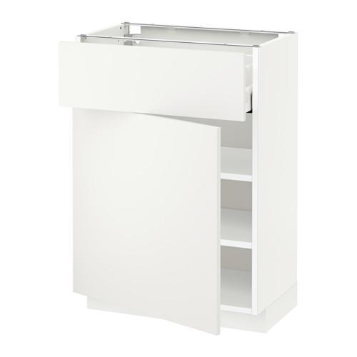 МЕТОД / МАКСИМЕРА Напольный шкаф с ящиком/дверью - 60x37 см, Хэггеби белый, белый