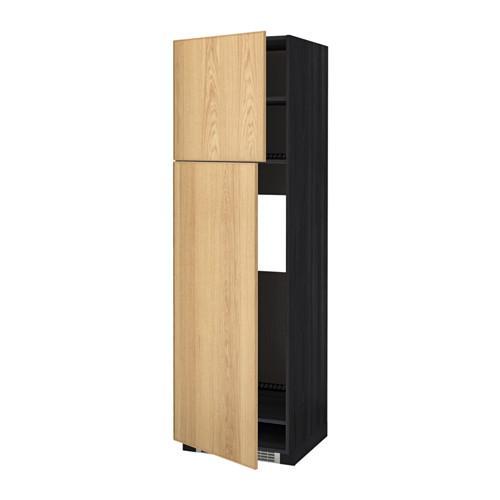 МЕТОД Высокий шкаф д/холодильника/2дверцы - 60x60x200 см, Экестад дуб, под дерево черный