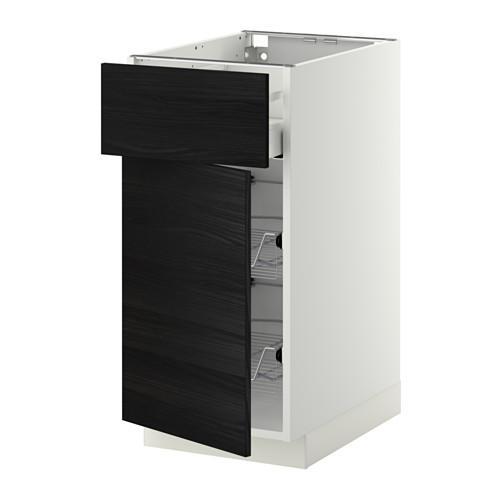 МЕТОД / МАКСИМЕРА Напольн шкаф с пров корз/ящ/дверью - 40x60 см, Тингсрид под дерево черный, белый