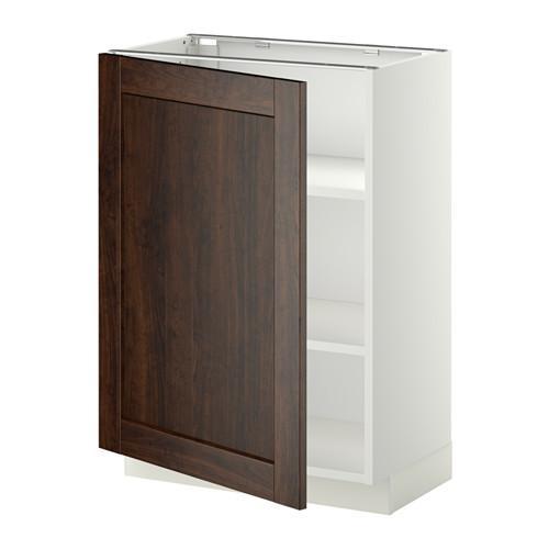 МЕТОД Напольный шкаф с полками - 60x37 см, Эдсерум под дерево коричневый, белый