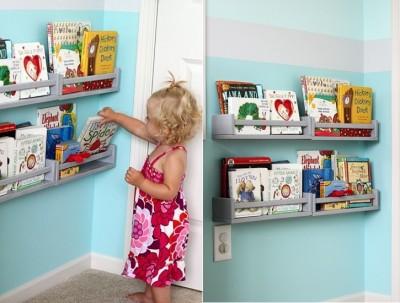 Using shelves IKEA Beckwith storage children's books