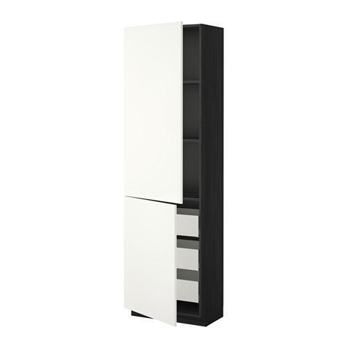 МЕТОД / МАКСИМЕРА Высокий шкаф+полки/3 ящика/2 дверцы - 60x37x200 см, Хэггеби белый, под дерево черный
