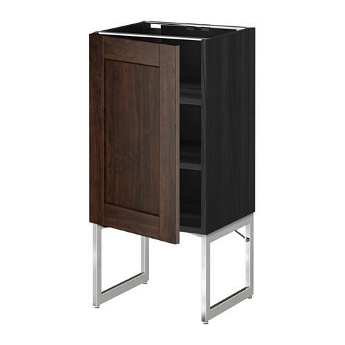 МЕТОД Напольный шкаф с полками - 40x37x60 см, Эдсерум под дерево коричневый, под дерево черный