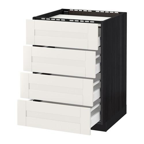 МЕТОД / МАКСИМЕРА Напольн шкаф/4фронт пнл/4ящика - 60x60 см, Сэведаль белый, под дерево черный