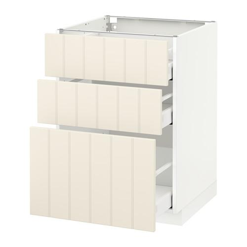 МЕТОД / МАКСИМЕРА Напольный шкаф с 3 ящиками - 60x60 см, Хитарп белый с оттенком, белый