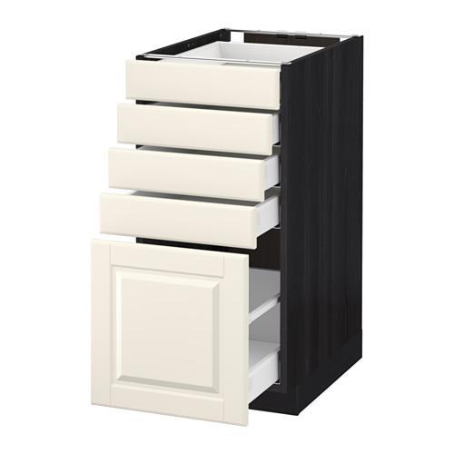 МЕТОД / МАКСИМЕРА Напольный шкаф с 5 ящиками - 40x60 см, Будбин белый с оттенком, под дерево черный