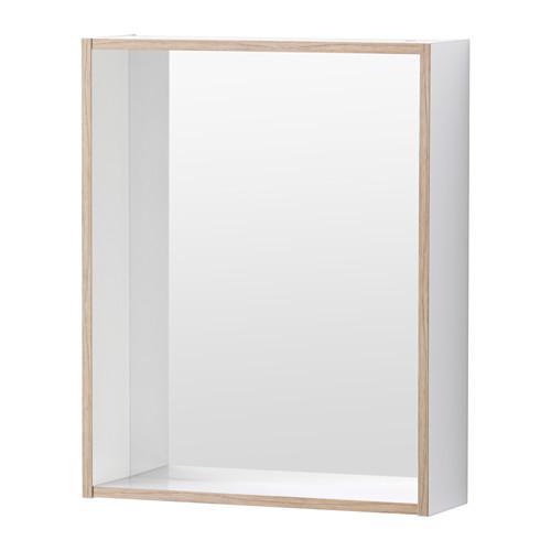 ТИНГЕН Зеркало с полкой - белый/пленка под ясень