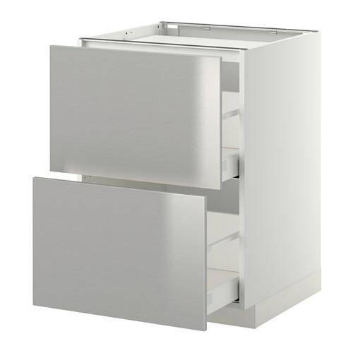 МЕТОД / МАКСИМЕРА Напольн шкаф/2фронт пнл/3ящика - 60x60 см, Гревста нержавеющ сталь, белый