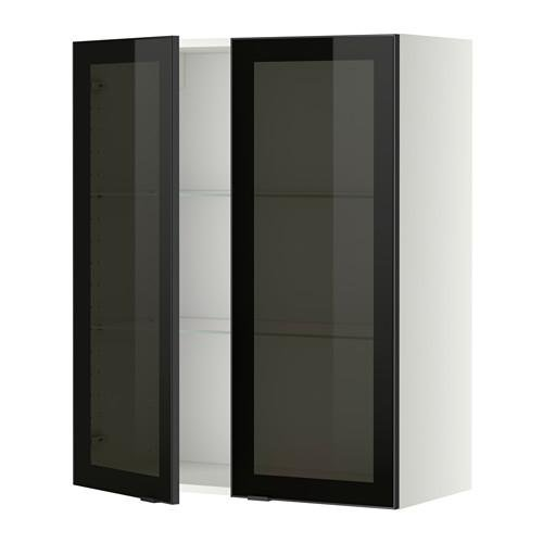 МЕТОД Навесной шкаф с полками/2 стекл дв - 80x100 см, Ютис дымчатое стекло/черный, белый