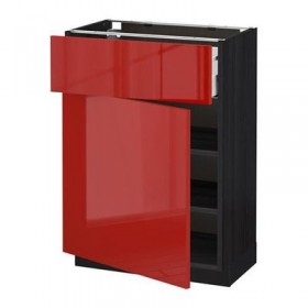 METHOD / MAKSIMERA Base cabinet with a drawer / door - 60x37 cm Ringult glossy red, black wood