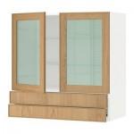 МЕТОД / ФОРВАРА Навесной шкаф/2 стек дв/2 ящика - 80x80 см, Экестад дуб, белый