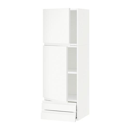 KAEDAH / MAXIMER Kabinet dinding / pintu 2 / laci 2 - putih, Vokstorp putih, 40x120 cm