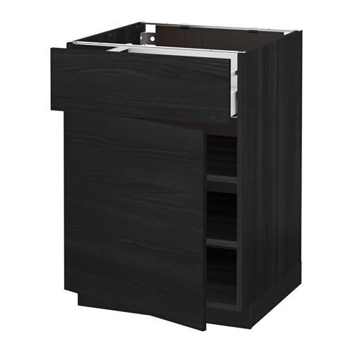МЕТОД / МАКСИМЕРА Напольный шкаф с ящиком/дверью - 60x60 см, Тингсрид под дерево черный, под дерево черный